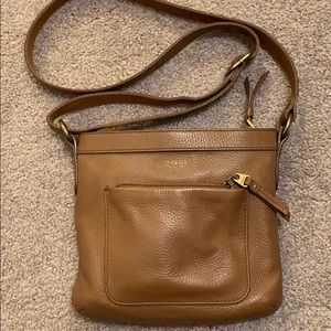 Fossil brown leather cross body purse
